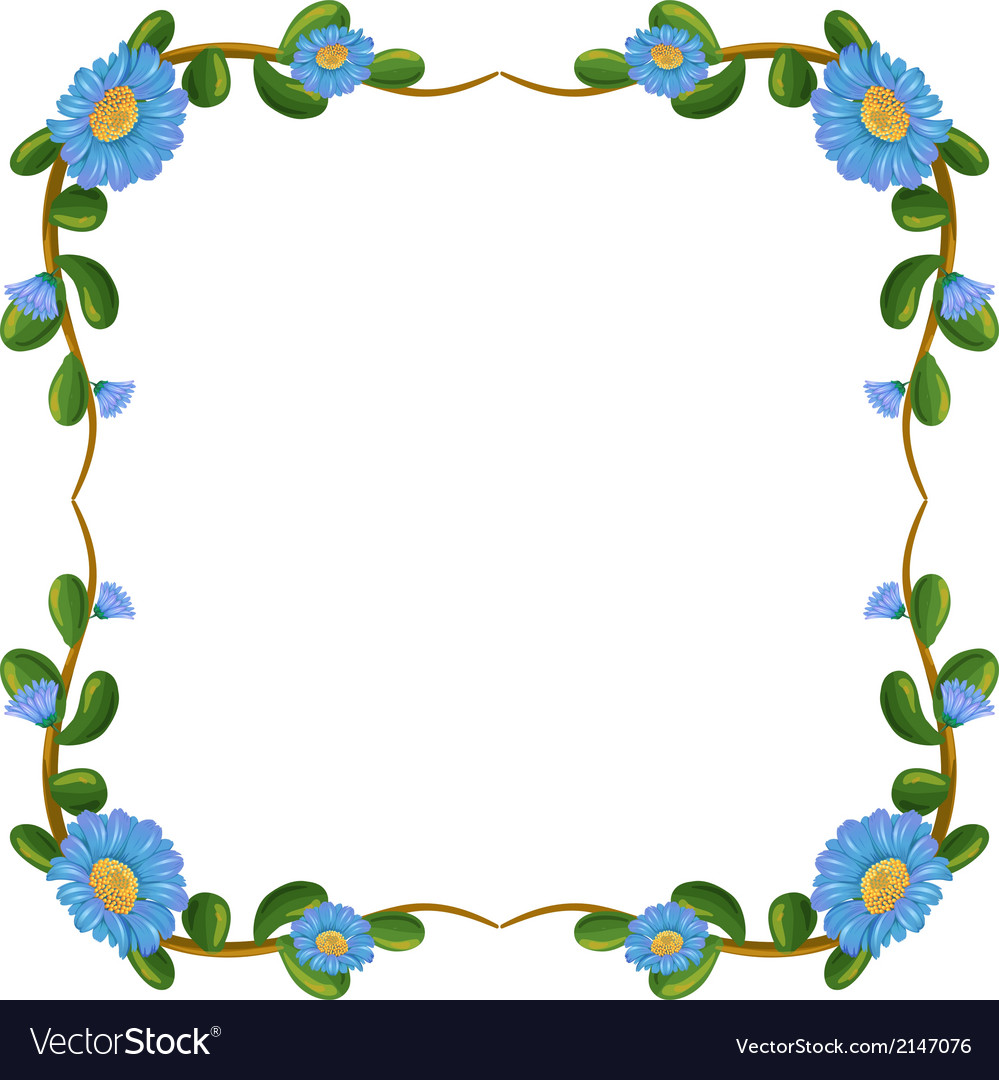 a border design with blue flowers royalty free vector image