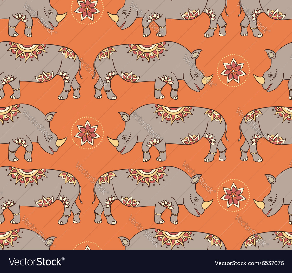 Seamless pattern with colorful rhinoseroses vector image