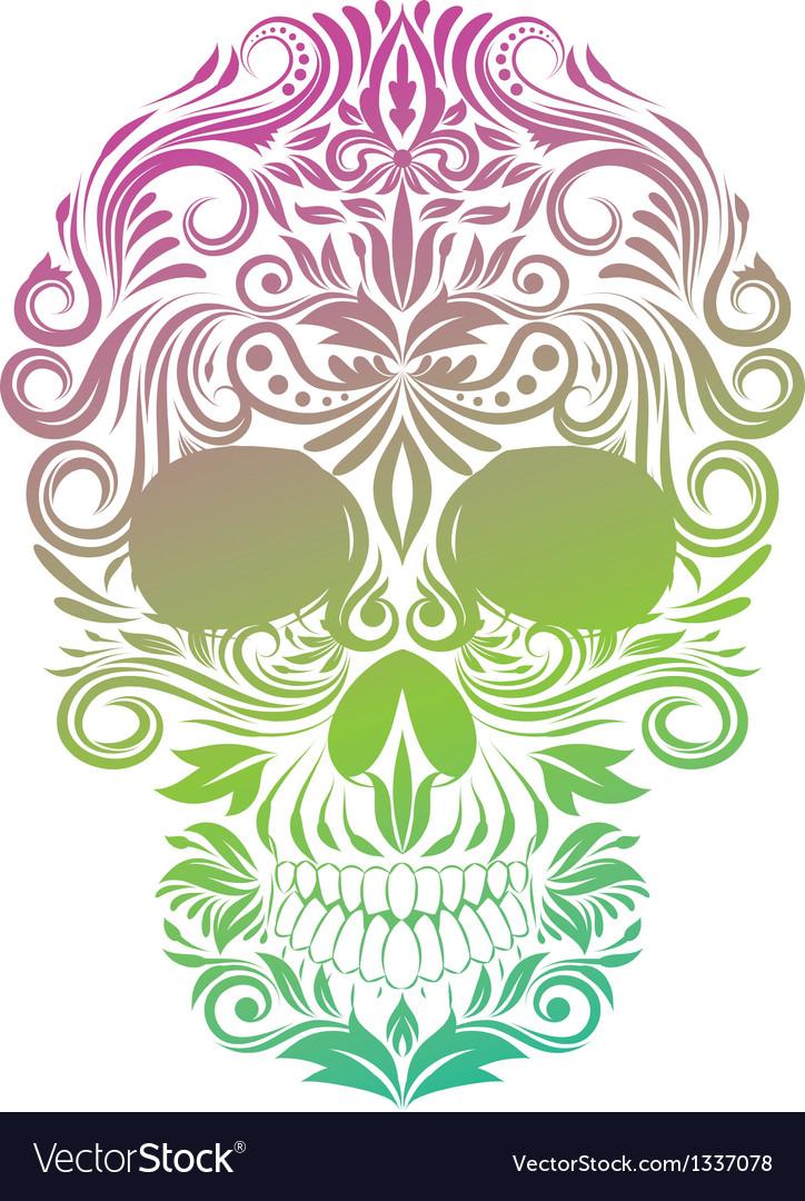 Floral Ornament Human Skull vector image