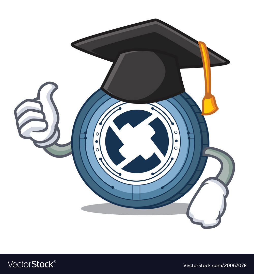 Graduation 0x coin character cartoon vector image