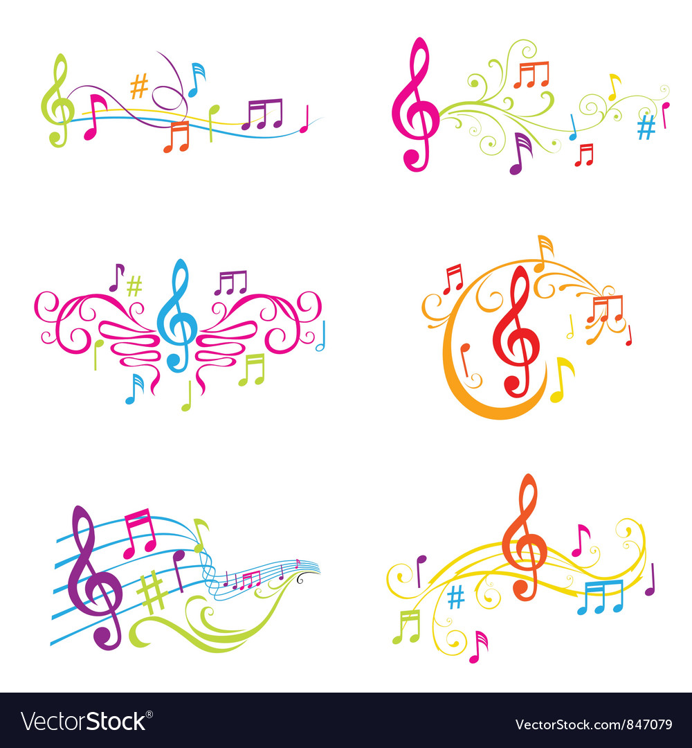 set of colorful musical notes royalty free vector image