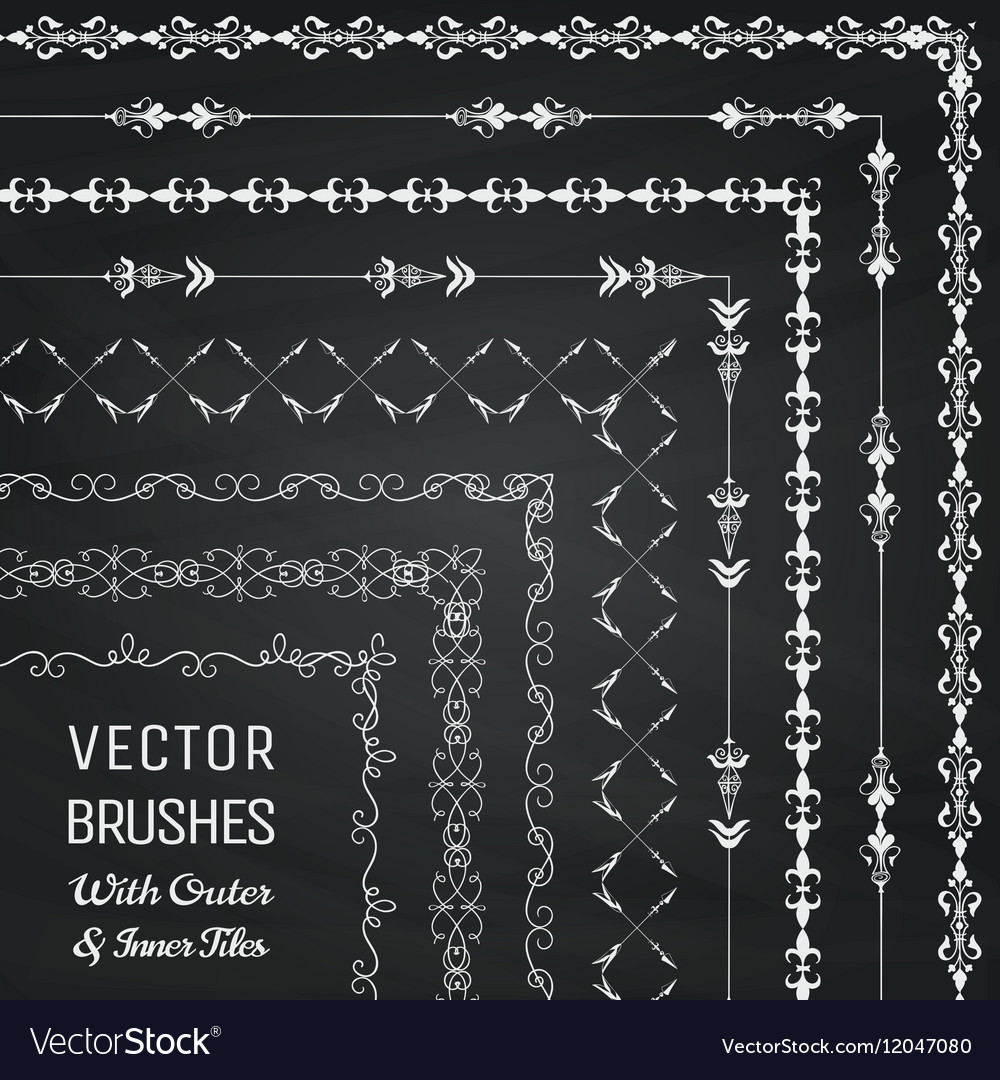Brushes with Outer and Inner Tiles vector image