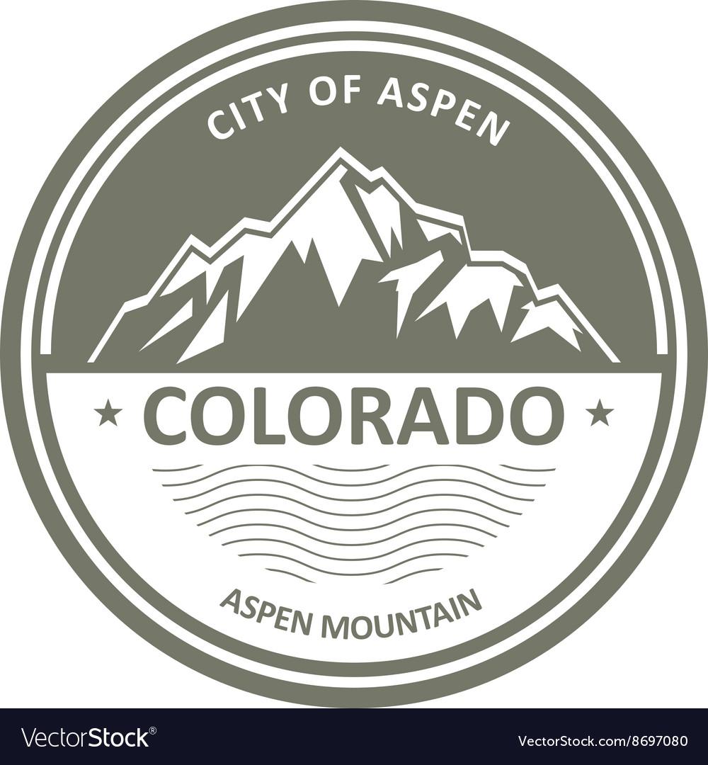 Snowbound Rocky Mountains - Colorado Aspen label vector image