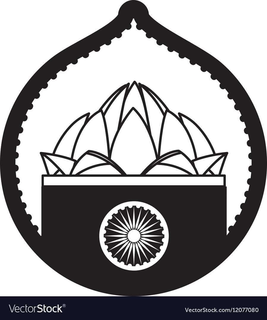 Stamp lotus flower indian culture vector image