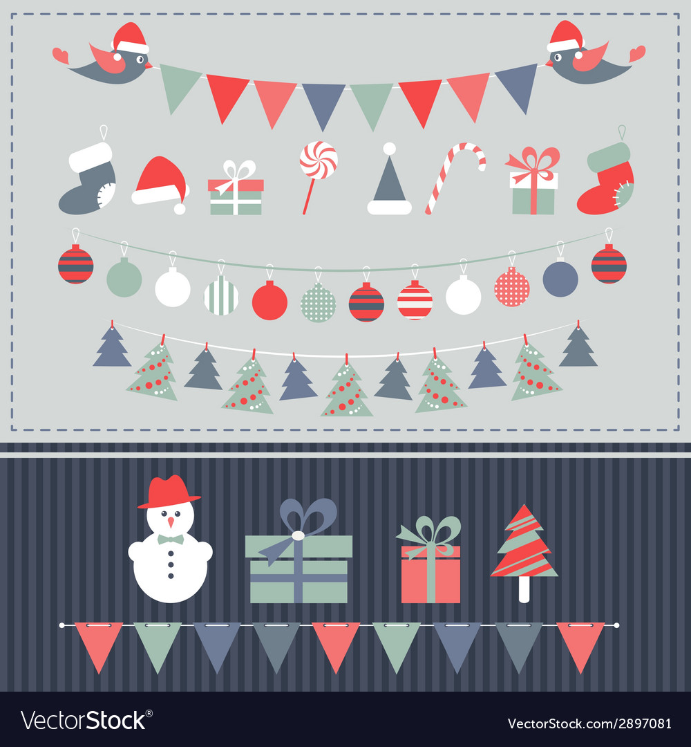 Retro Christmas elements set vector image