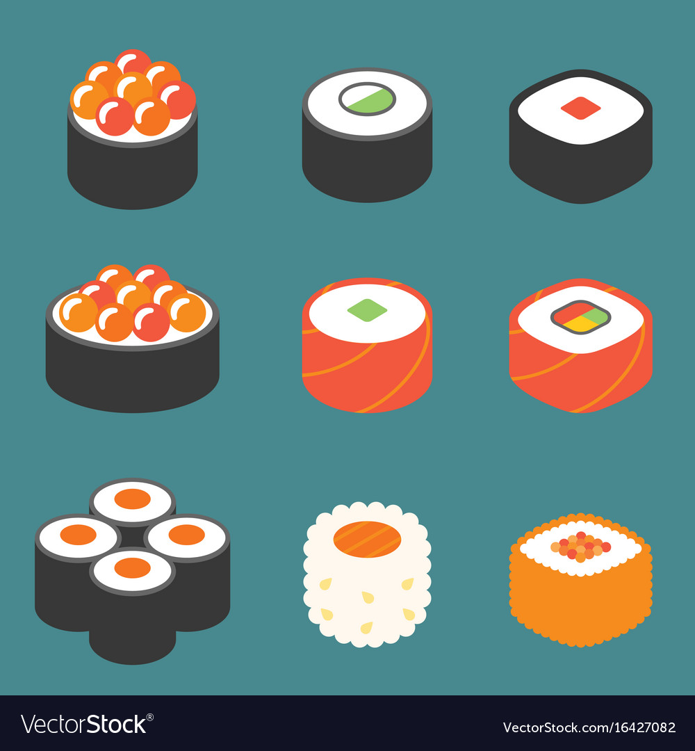Roll sushi icon set vector image