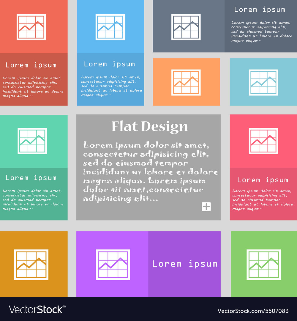 Chart icon sign Set of multicolored buttons with vector image