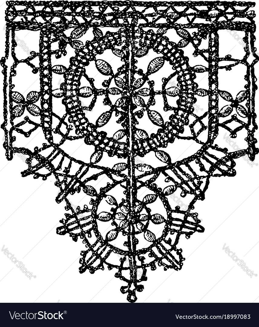 Point noue lace border is a 15th century design vector image
