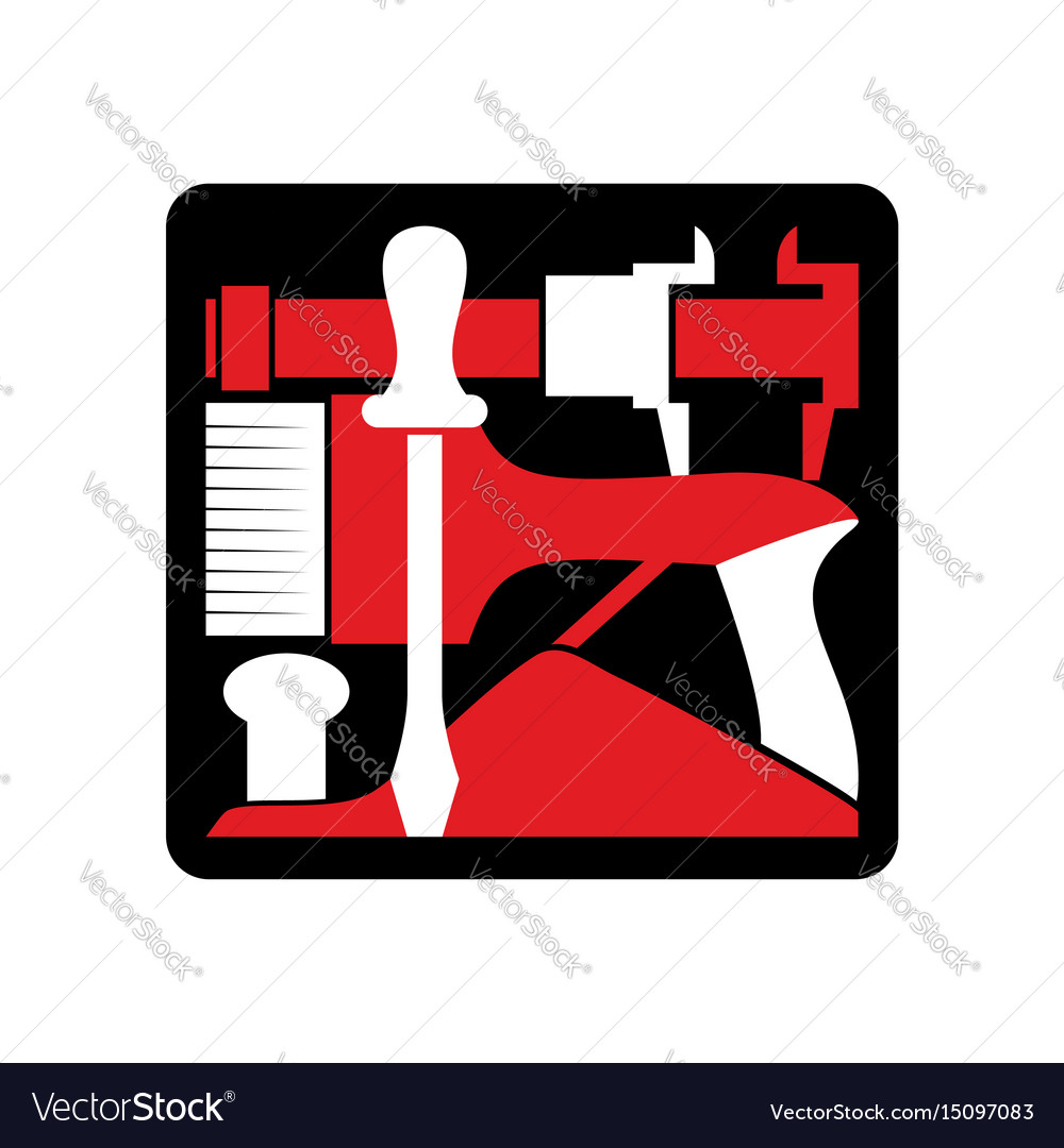 Repair logo repairs tool emblem instrument sign vector image