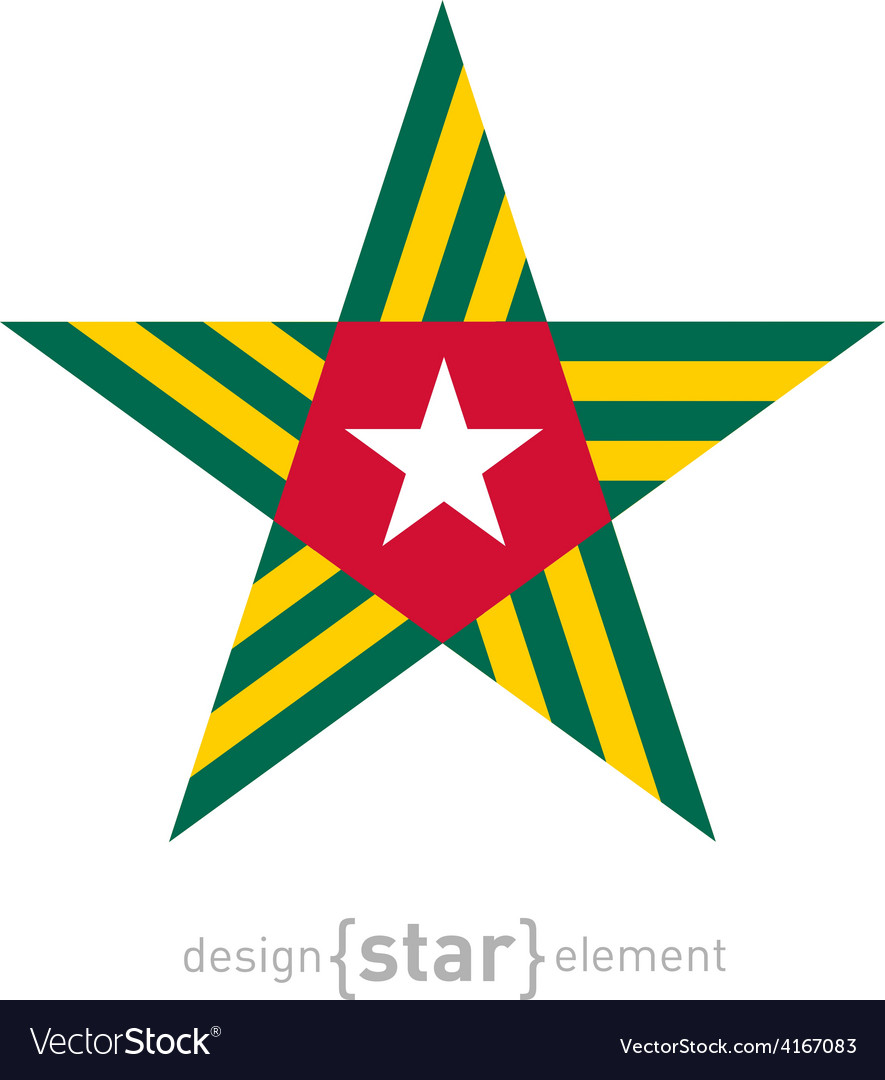 Star with togo flag colors and symbols design vector image biocorpaavc Choice Image