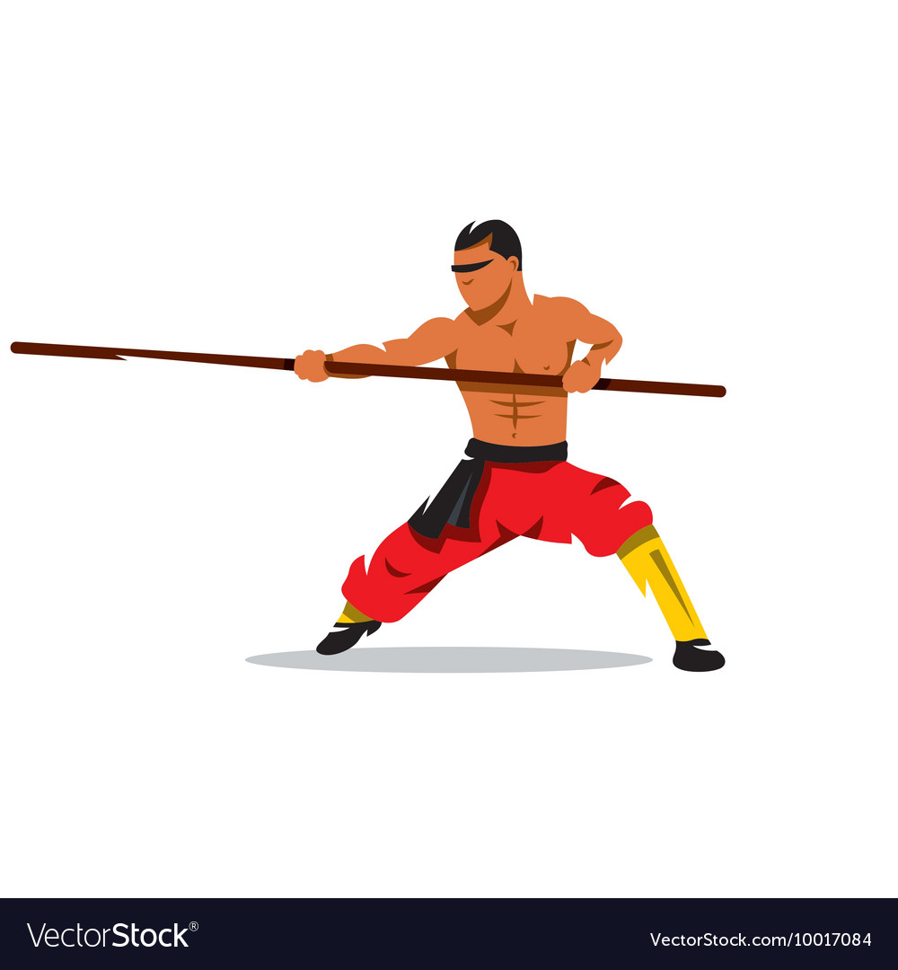Shaolin monk with his staff Cartoon vector image