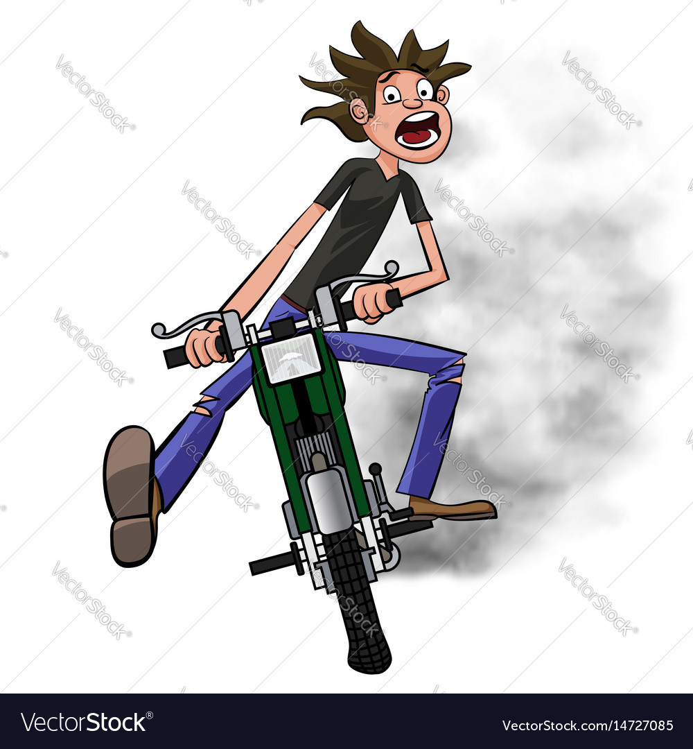 Young biker scary quickly rides on a motobike and vector image