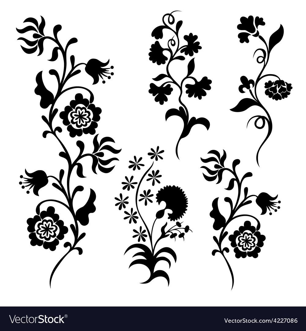 Black Flower Silhouette Pattern Royalty Free Stock Images: Black Silhouette Flowers Royalty Free Vector Image