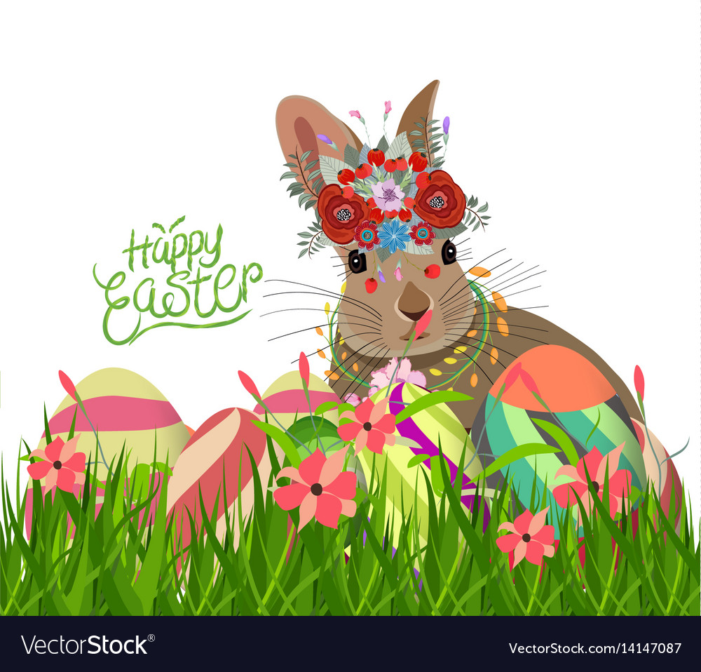 Easter eggs and rabbit spring with flower vector image