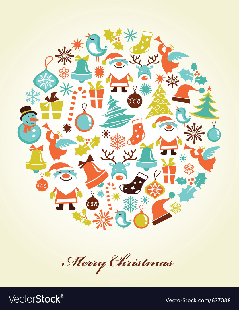 Christmas background with icons vector image