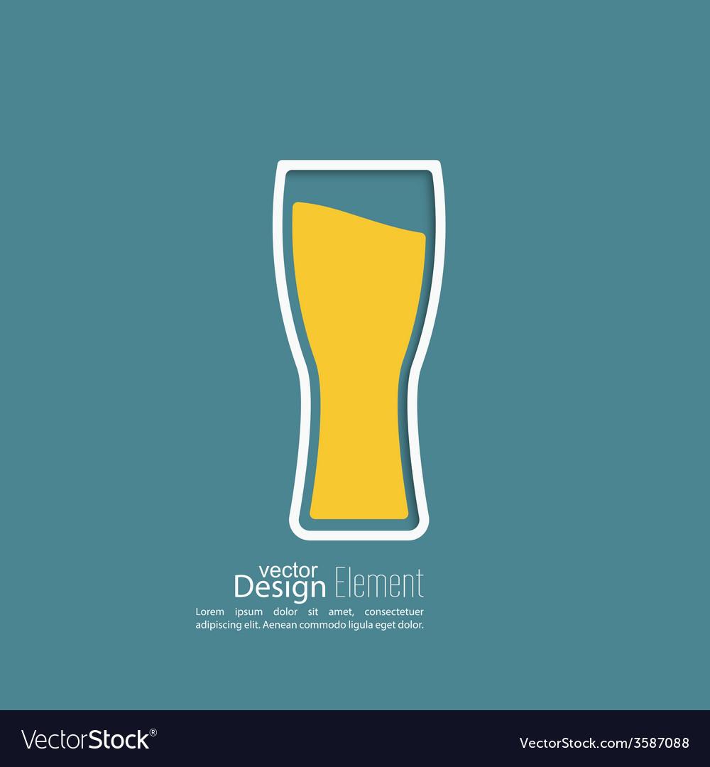 Beer glass with yellow liquid vector image