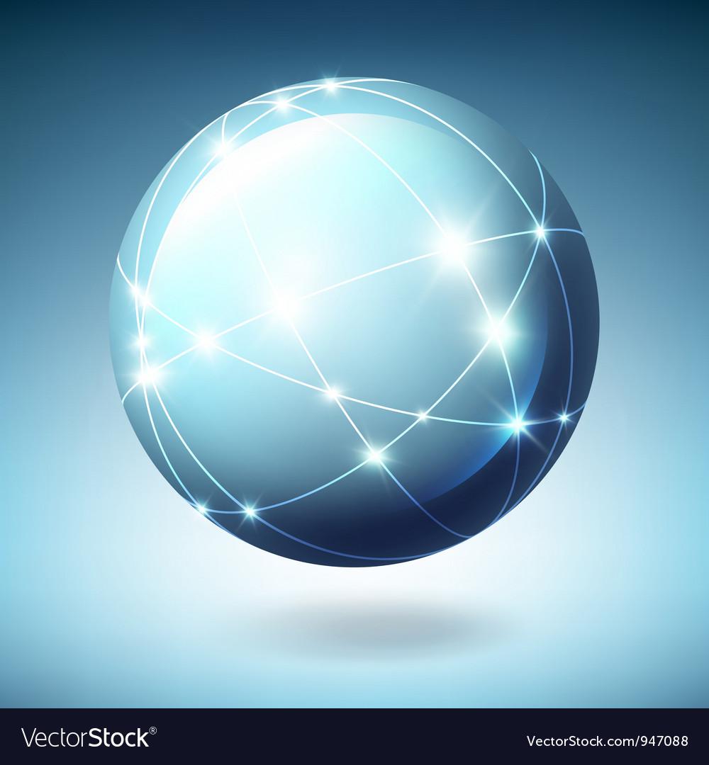 Globe icon with satellites vector image