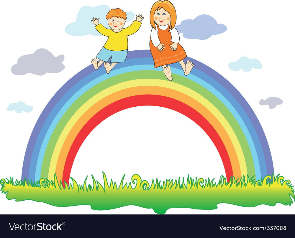 Happy children on the rainbow vector image