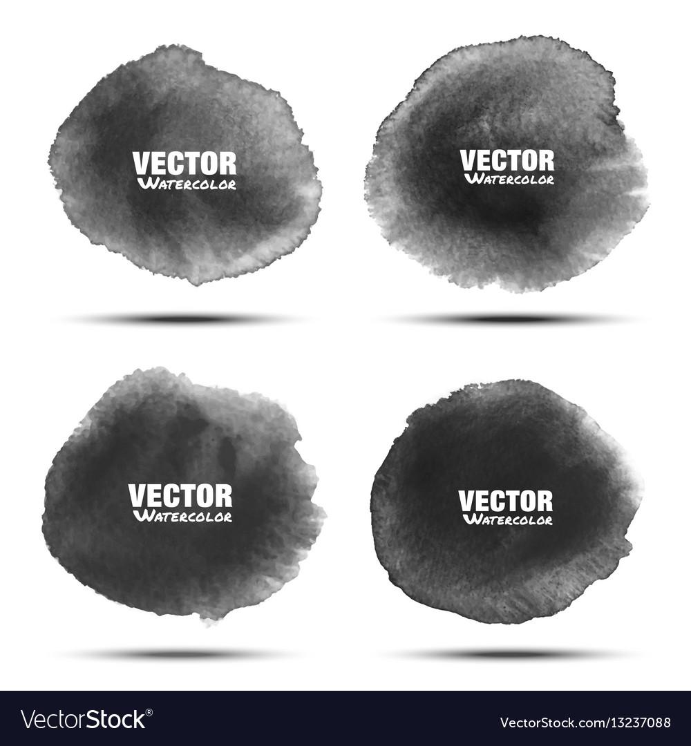 Set of dark gray black watercolor circle stains vector image