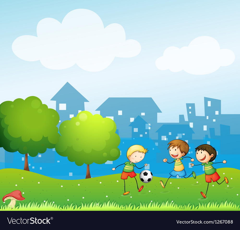Three kids playing soccer in the hill vector image