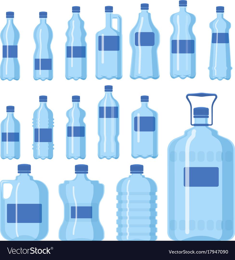 Plastic water bottle blank nature blue vector image