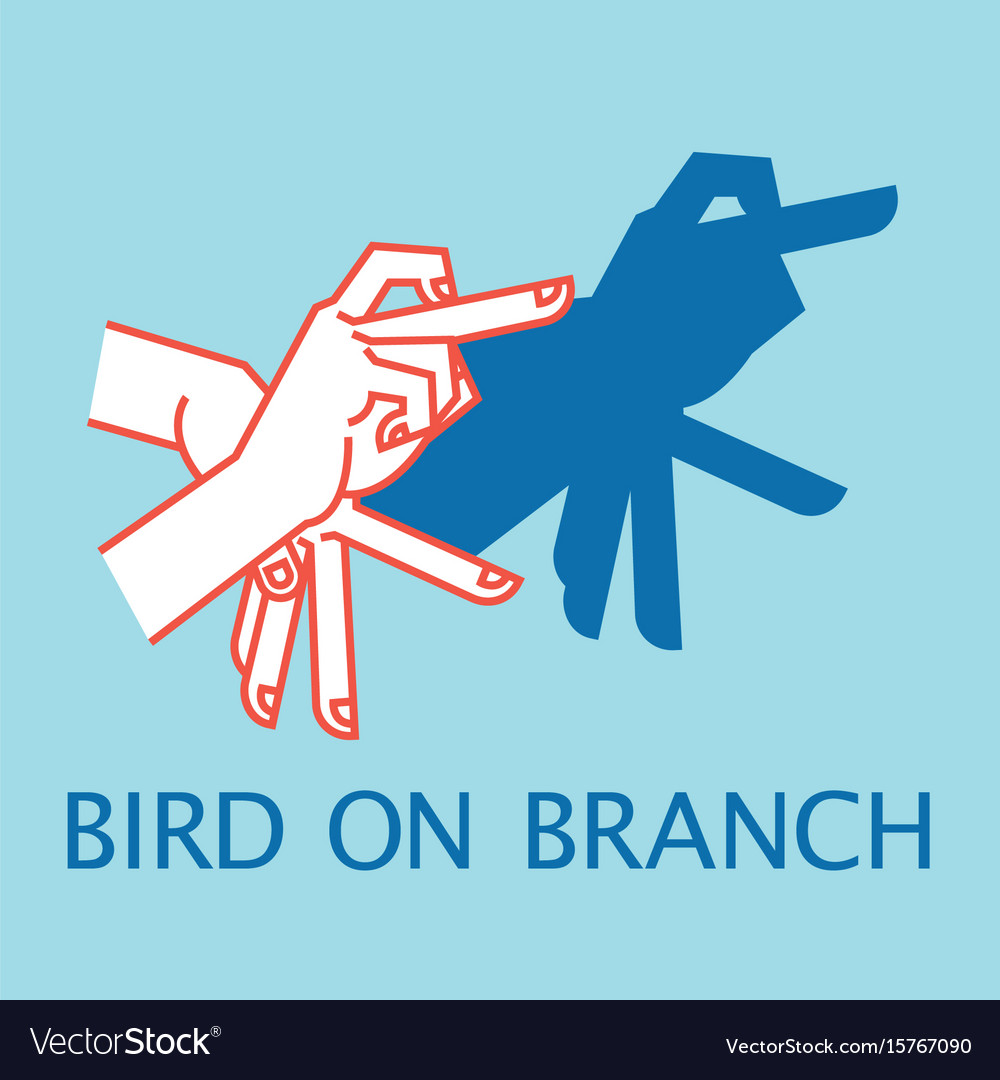 Shadow theater hands gesture like bird on branch vector image