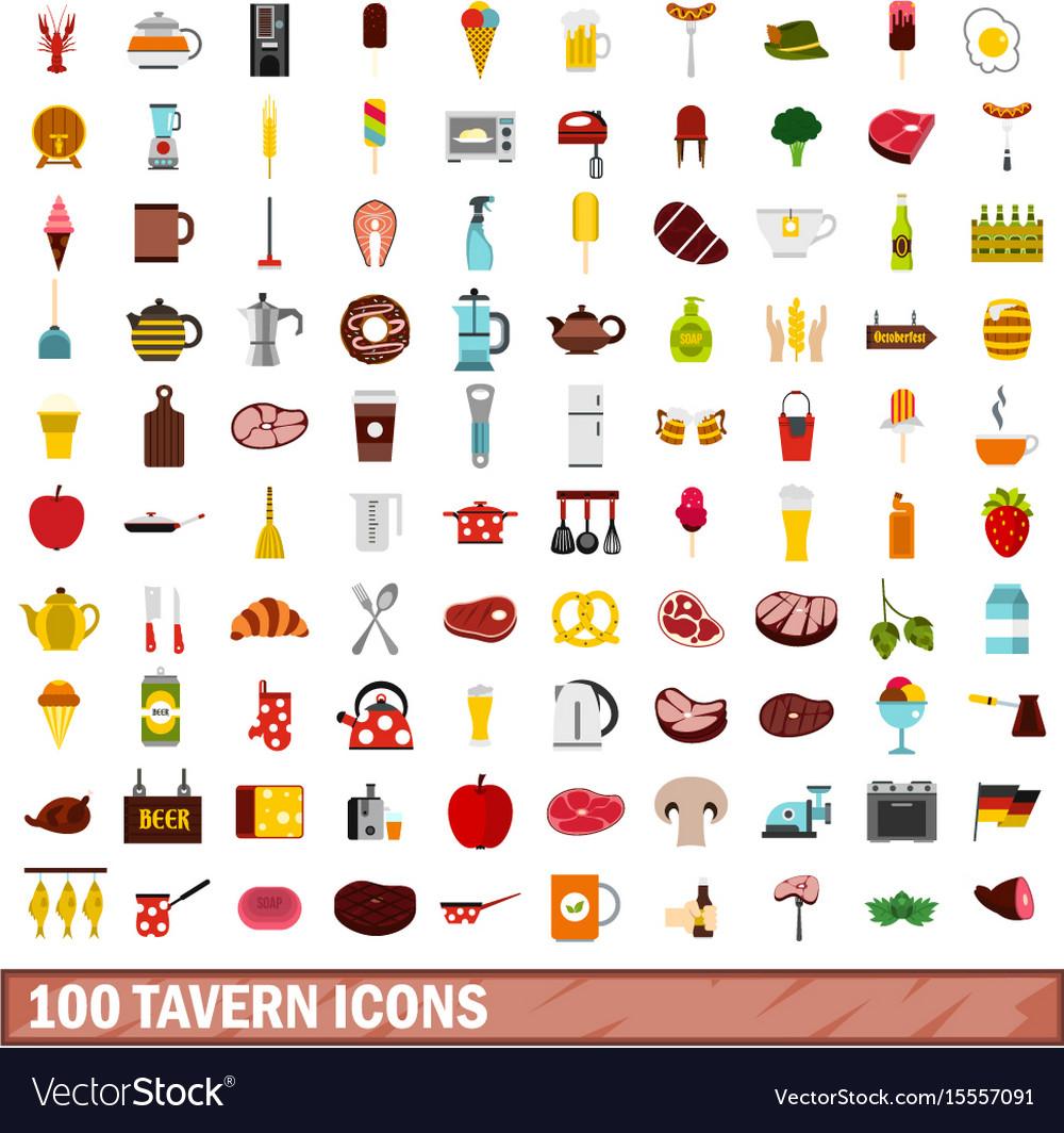 100 tavern icons set flat style vector image