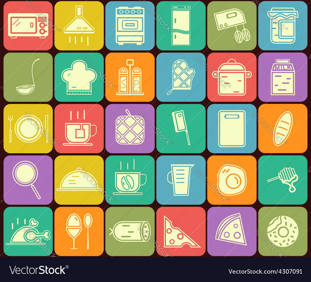 Set of kitchen and cooking icons in flat design vector image