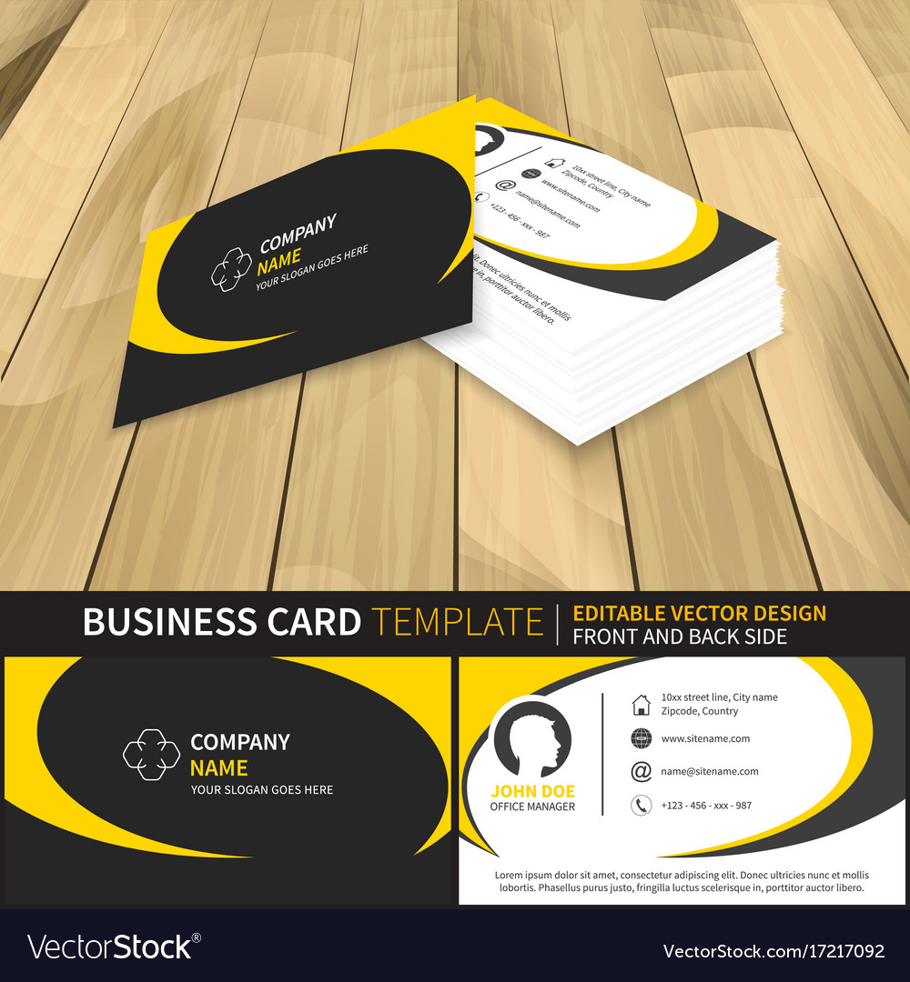 Business card template editable design with front Vector Image