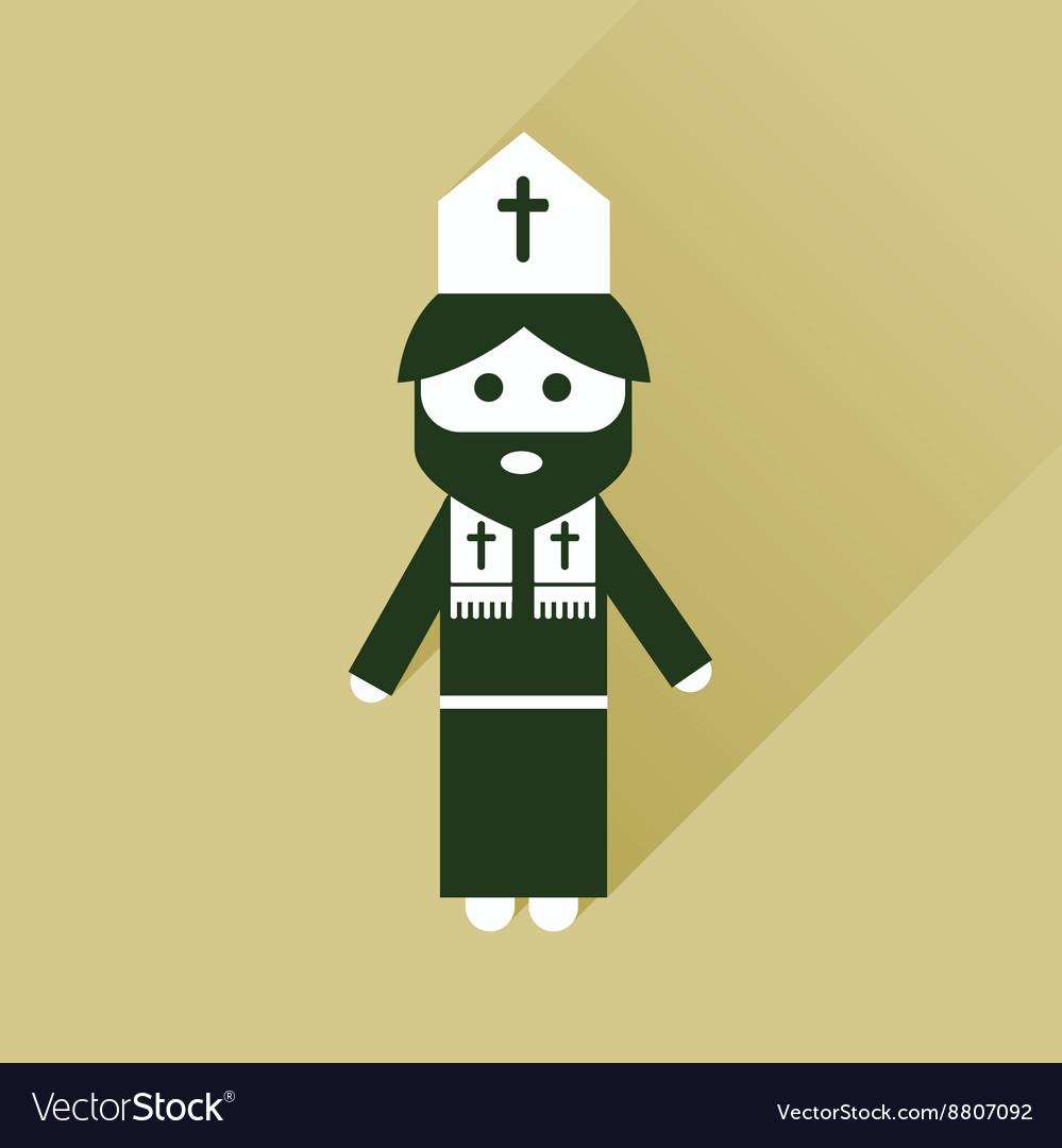Flat icon with long shadow Christian priest
