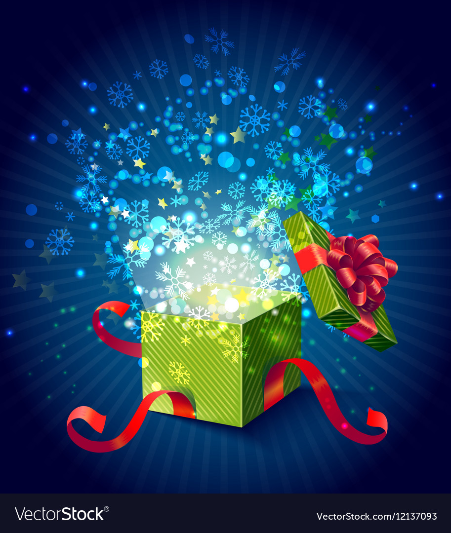 Cartoon Colorful Magic Gift Box Composition vector image