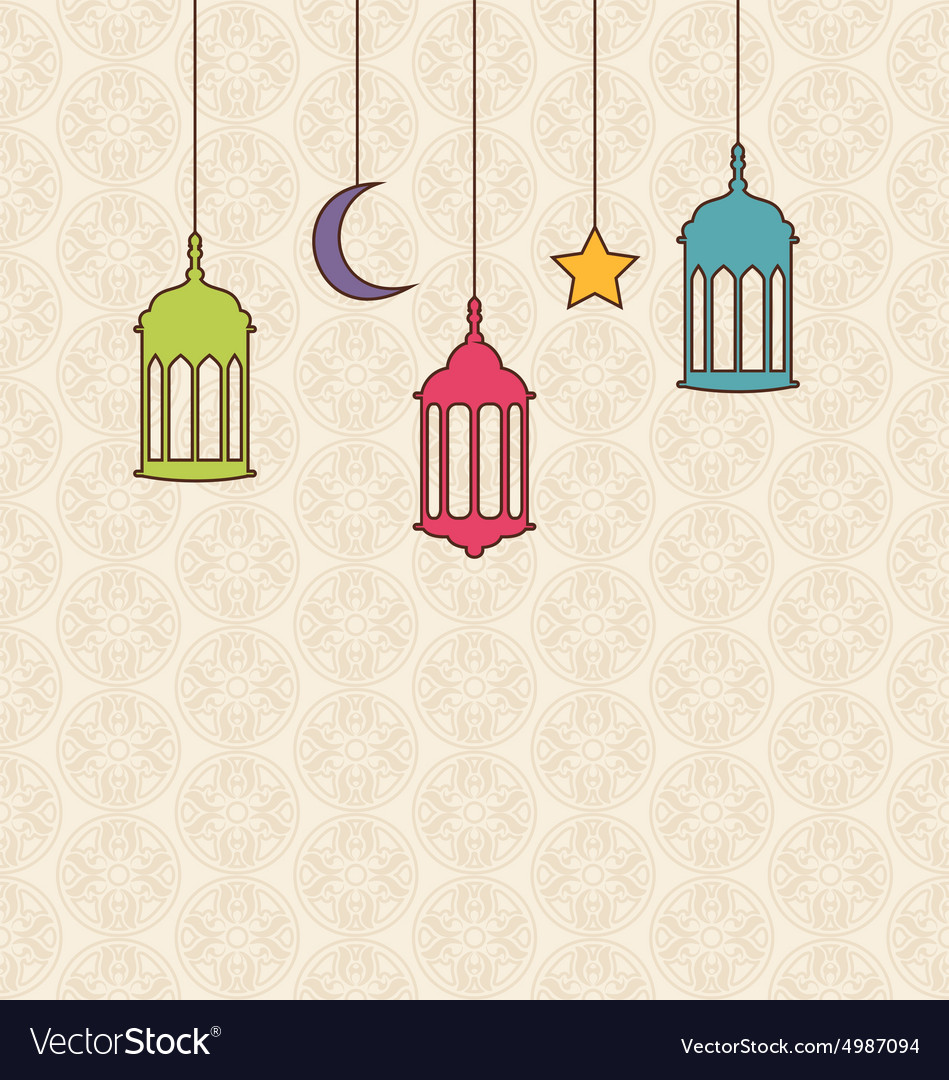 Hanging Lamp Vector: Islamic Background With Arabic Hanging Lamps For Royalty