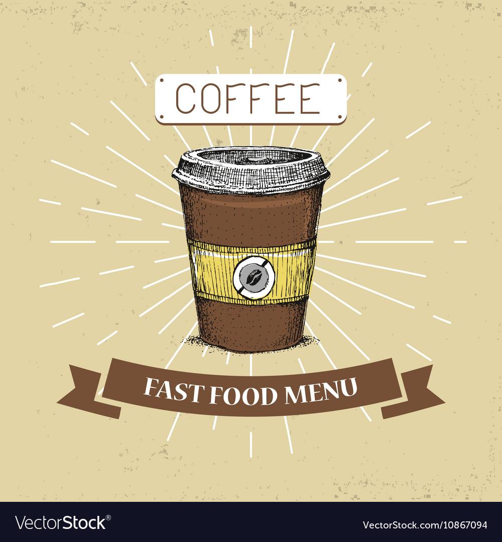 Coffee fast food in vintage vector image