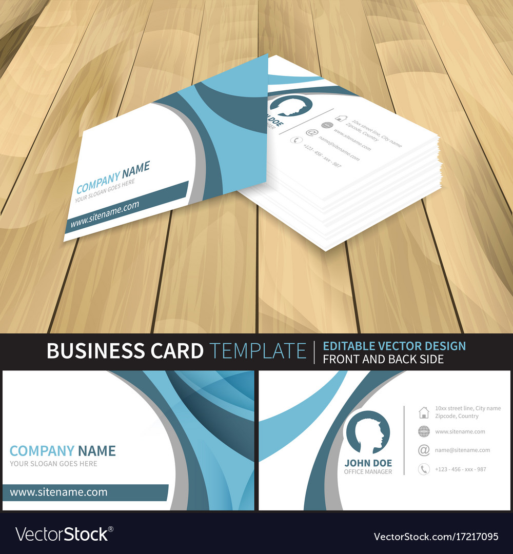Business card template editable design with front vector image reheart Choice Image