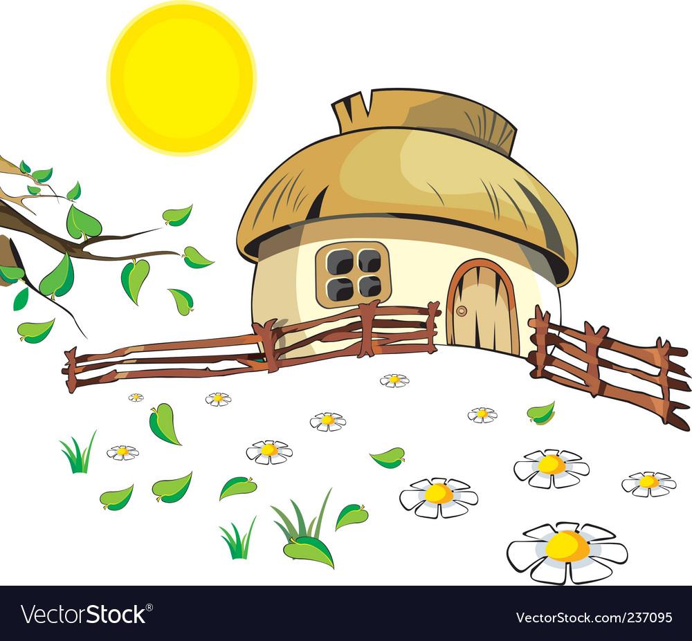 Cartoon cottage vector image