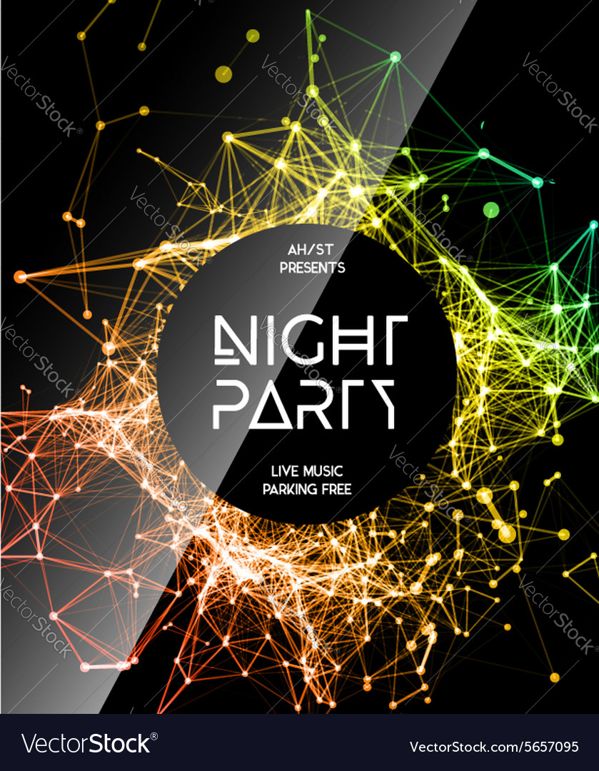 Night Disco Party Poster Background Royalty Free Vector