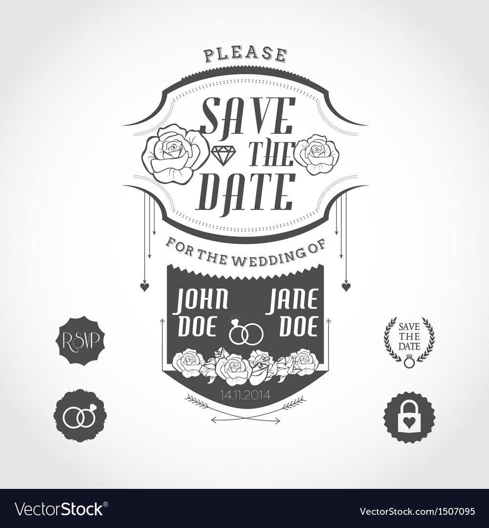 Set of wedding invitation design elements vector image