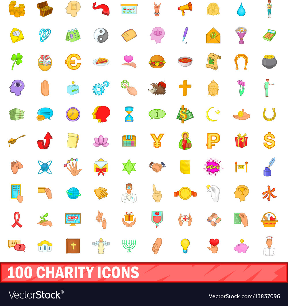 100 charity icons set cartoon style vector image