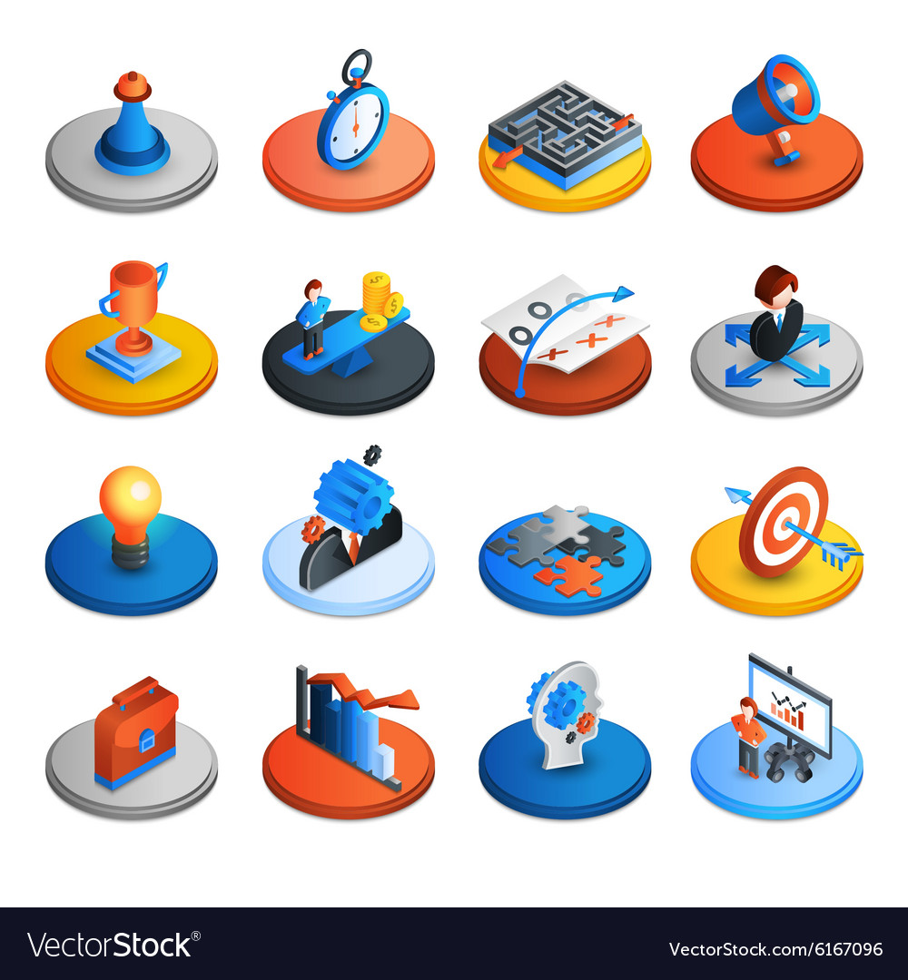 Business Strategy Isometric Icons vector image