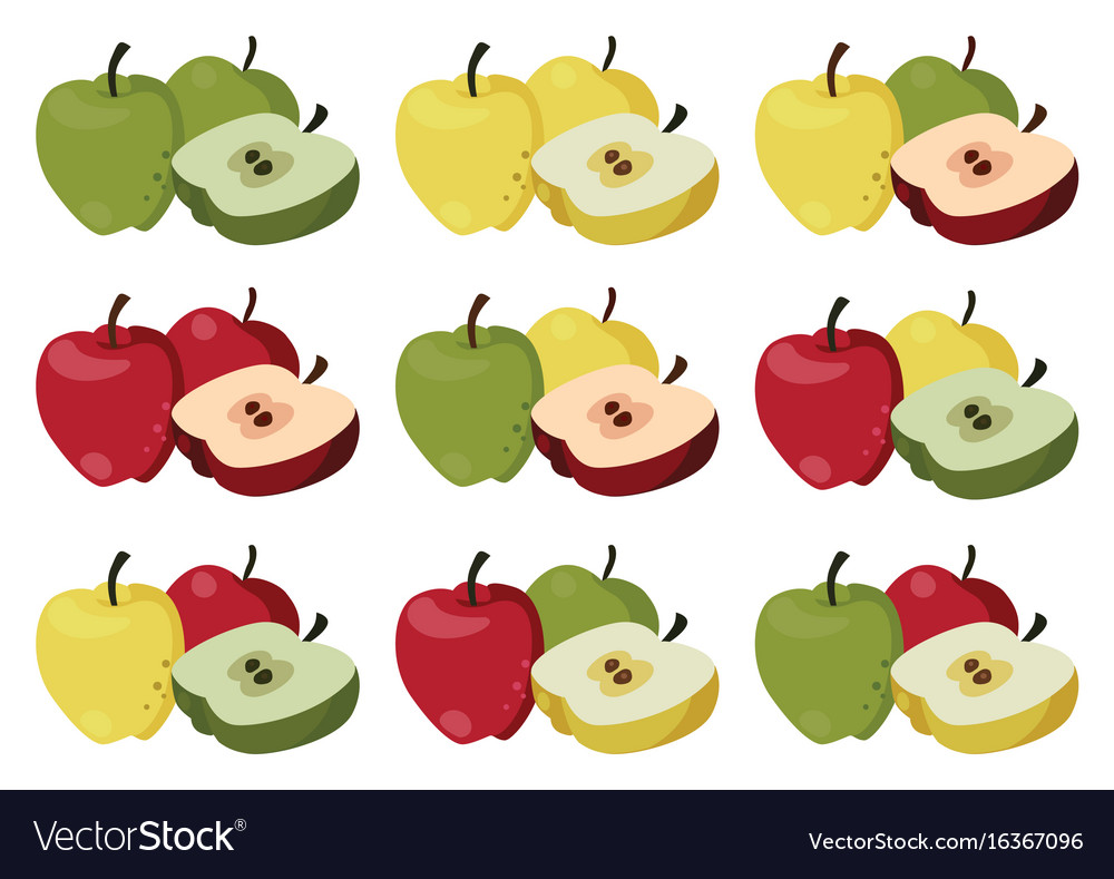 Set of multi-colored apples vector image