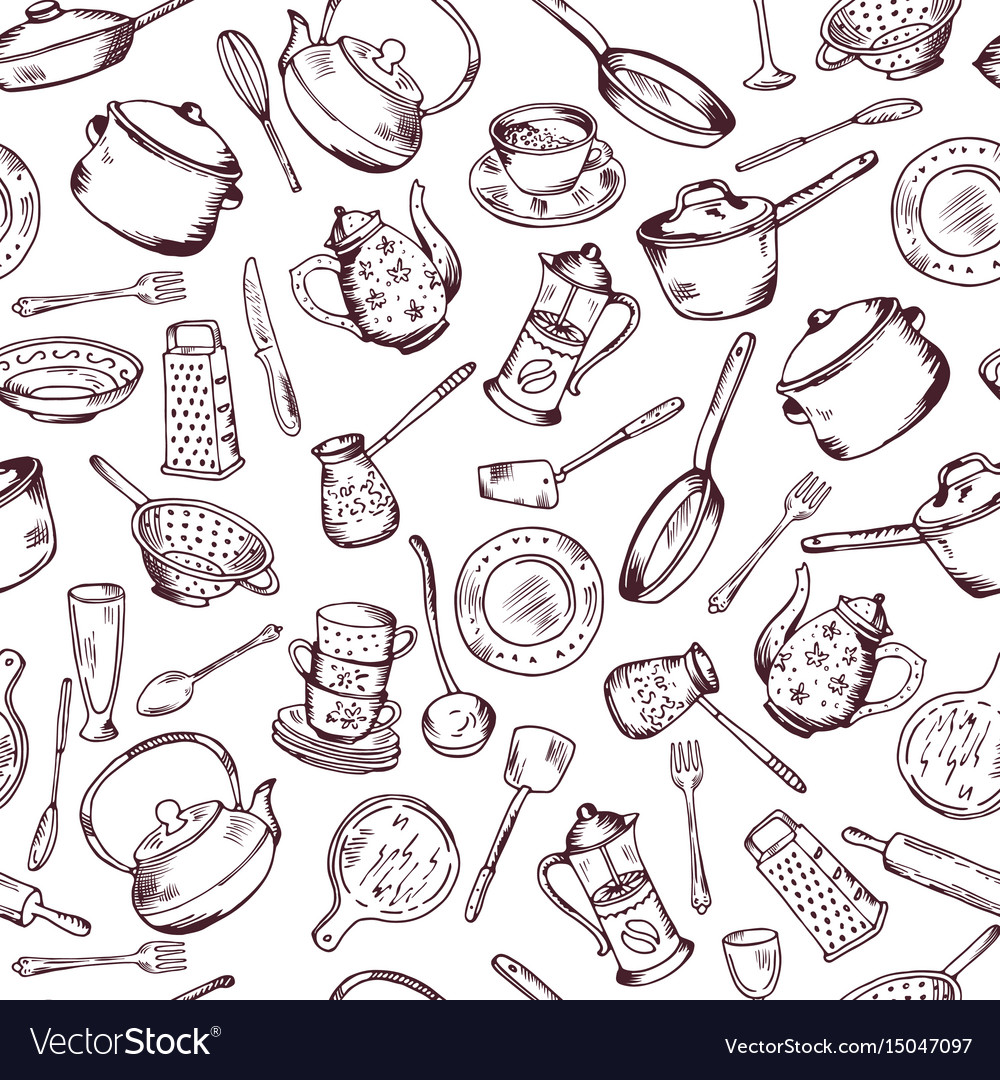 Kitchen cooking elements seamless pattern vector image