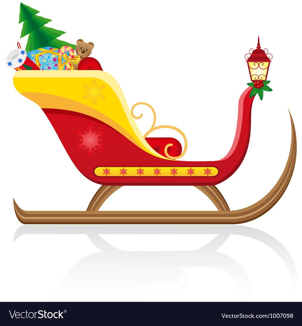 Christmas santa sleigh 01 vector image