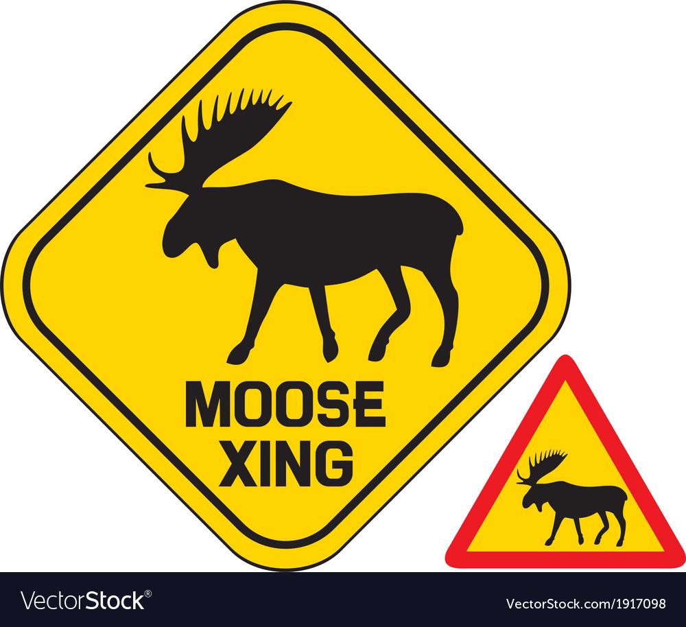 Moose crossing road sign vector image