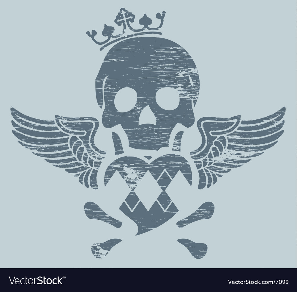 Skull with heart and wings Vector Image