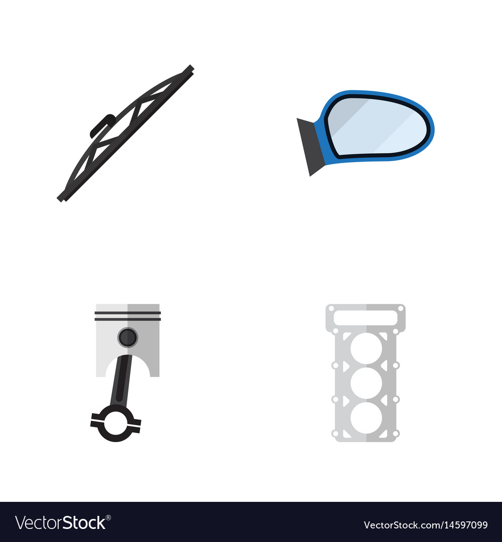 Flat component set of packing conrod auto vector image