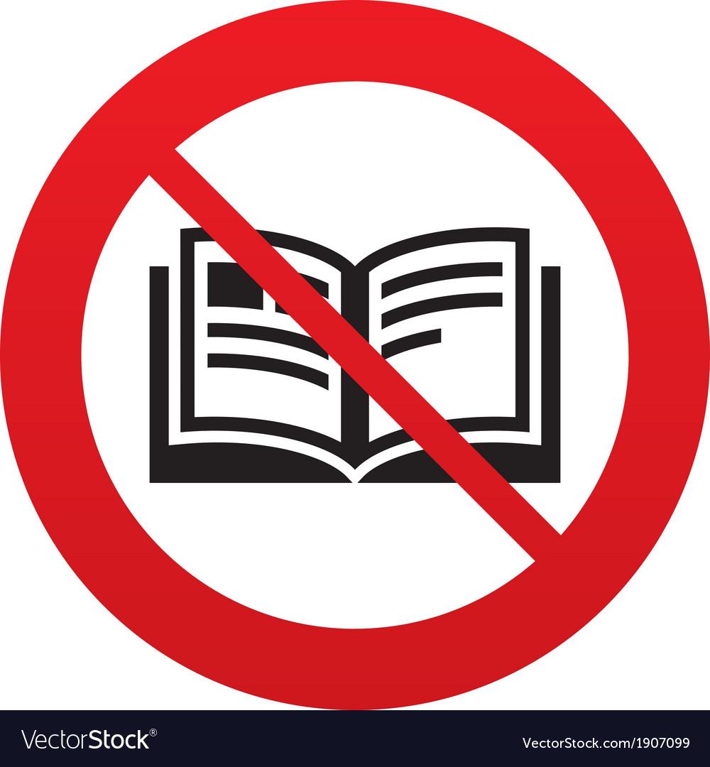 No Book sign icon Open book symbol vector image