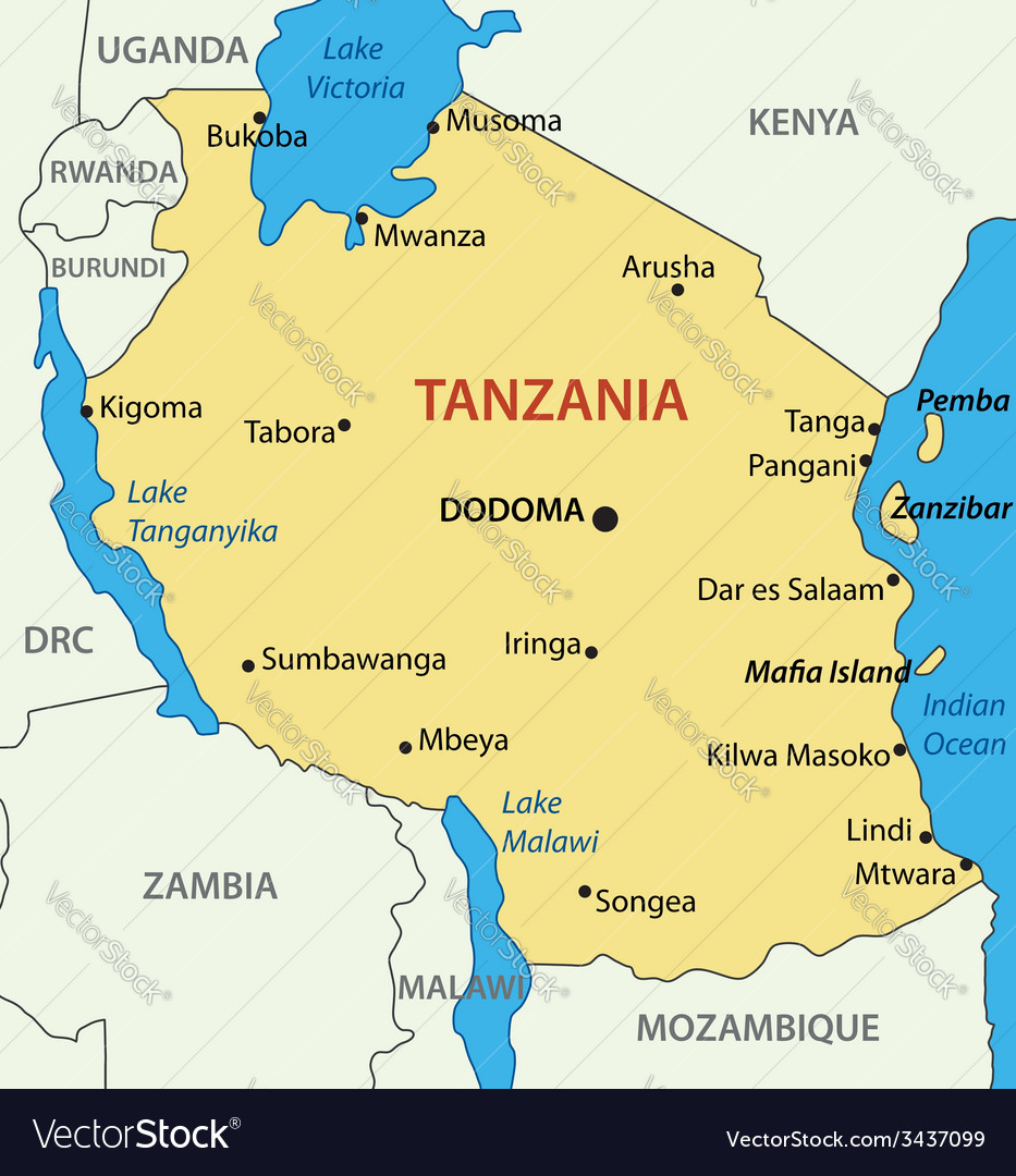 United Republic of Tanzania map Royalty Free Vector Image