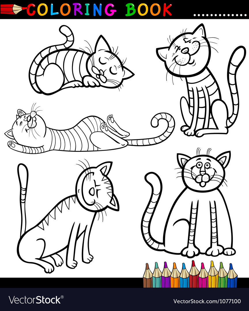 Coloring book kittens - Cartoon Cats Or Kittens For Coloring Book Vector Image