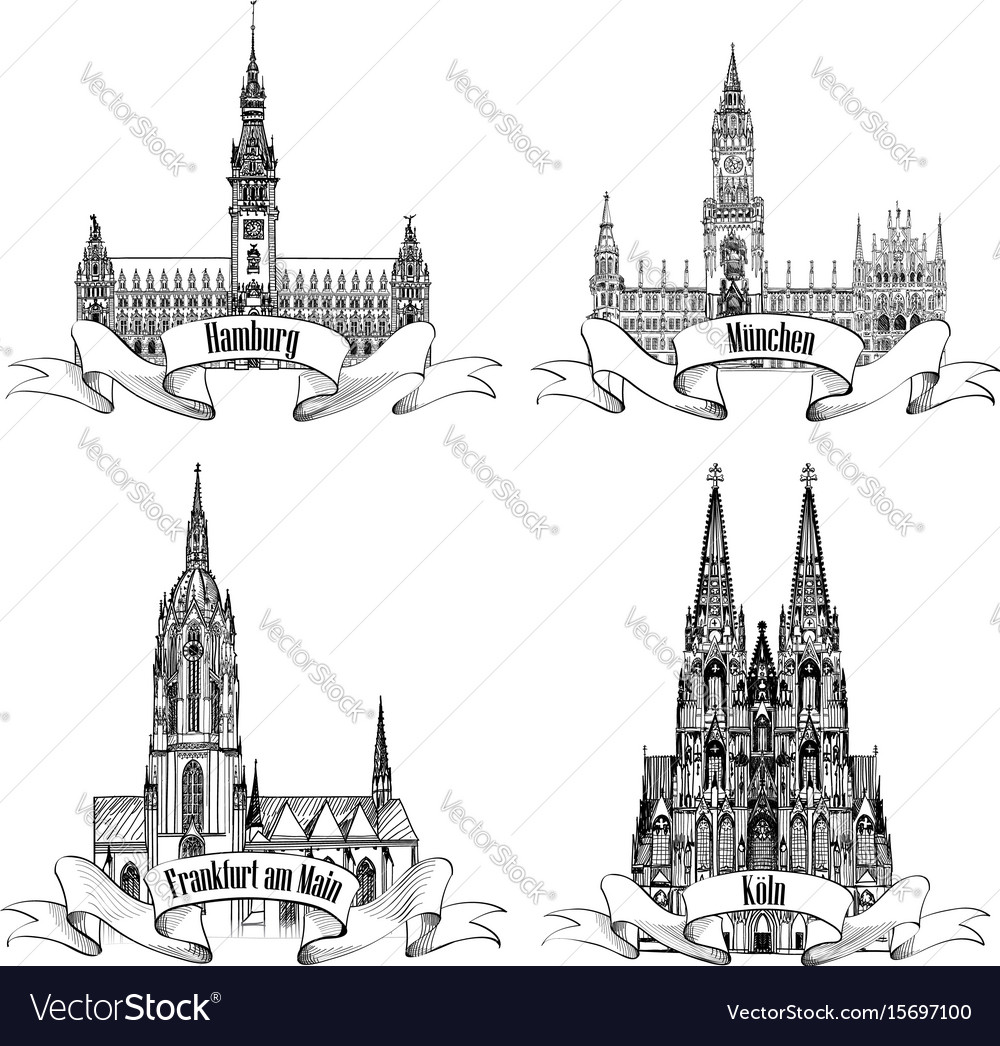 German city travel attraction set hamburg munich vector image