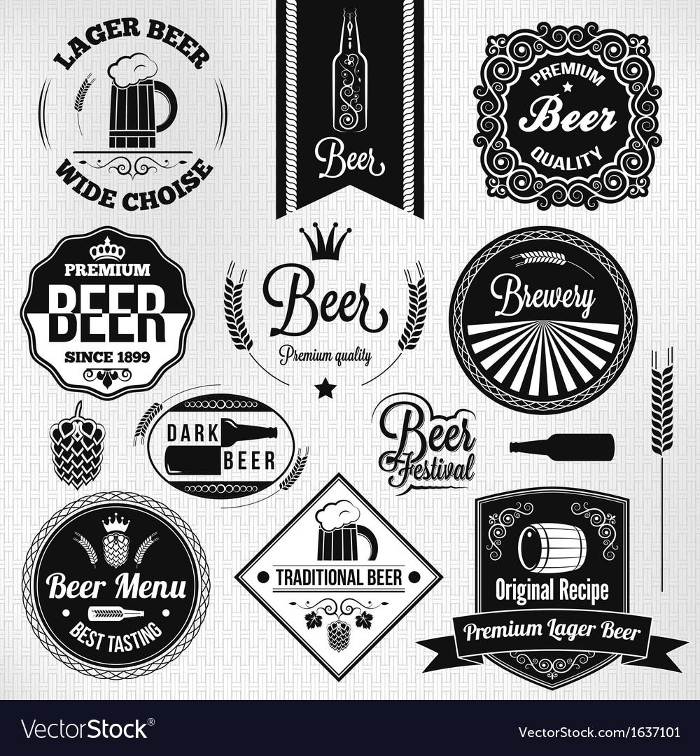 Beer labels set vector image